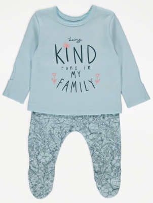 Light Blue Kind Slogan Long Sleeve Pyjamas