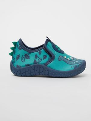 Blue Dinosaur Print Aqua Socks