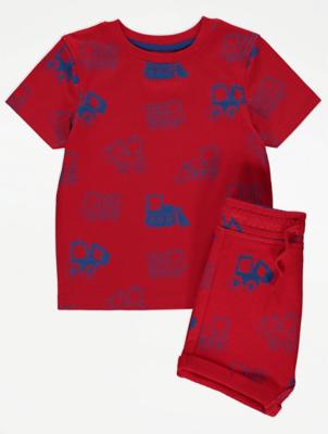 Red Digger Print T-Shirt and Shorts Set