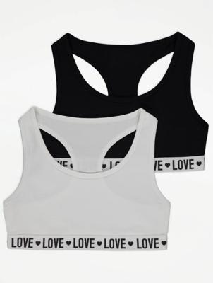 Love Slogan Crop Tops 2 Pack