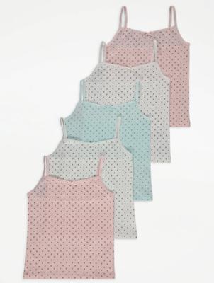 Polka Dot Print Cami Vest Tops 5 Pack
