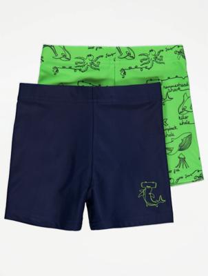 Green Shark Print Swim Trunks 2 Pack