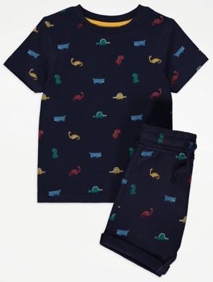 Navy Dinosaur Print T-Shirt and Shorts Outfit