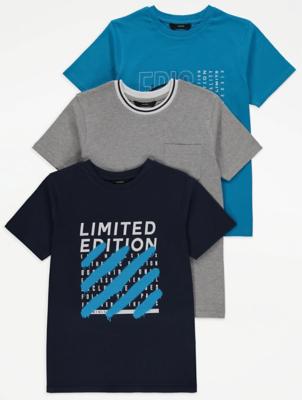 Slogan Graphic T-Shirts 3 Pack