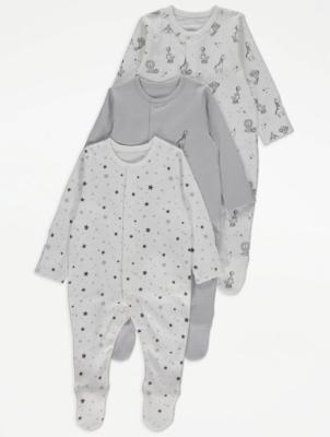 Grey Printed Sleepsuits 3 Pack