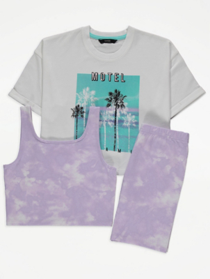 Tie Dye T-Shirt Crop Top and Cycling Shorts Outfit