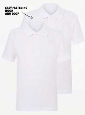 White School Short Sleeve Easy On Polo Shirt 2 Pack