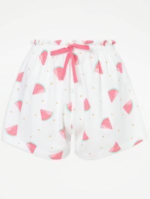 White Watermelon Print Pyjama Shorts