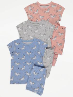 Unicorn Print Pyjamas 3 Pack
