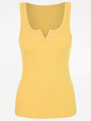 Yellow Rib Knit Vest Pyjama Top