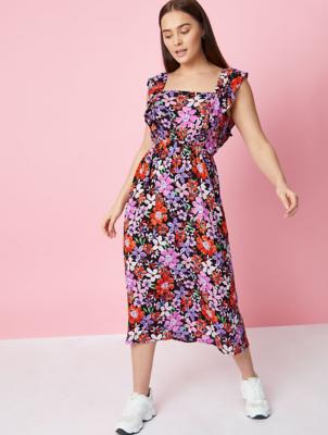 Floral Print Woven Midi Dress