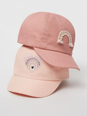 Pink Heart Applique Caps 2 Pack