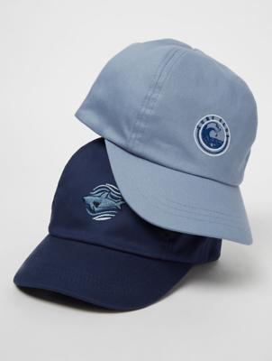 Navy Shark Surf Club Caps 2 Pack