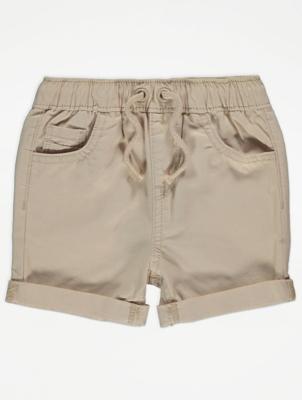 Beige Woven Shorts