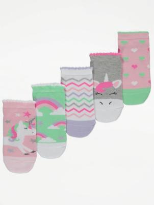 Pink Unicorn Print Socks 5 Pack
