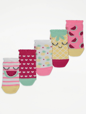 Fruit Print Trainer Liners 5 Pack