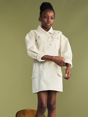 Cream Cropped Denim Jacket