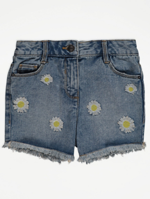 Blue Embroidered Daisy Denim Shorts
