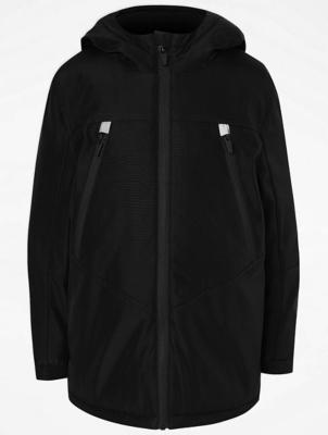 Black Shower Resistant Hooded Reflective Sports Jacket