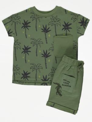 Khaki Palm Print T-Shirt and Shorts Outfit