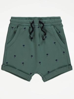 Green Palm Tree Print Shorts