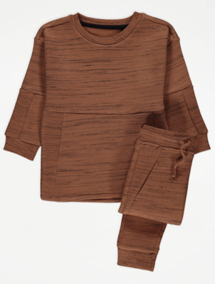 Brown Marl Sweatshirt and Joggers Outfit