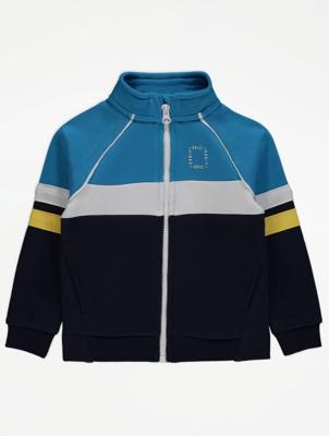 Blue Colour Block Zip Up Jacket