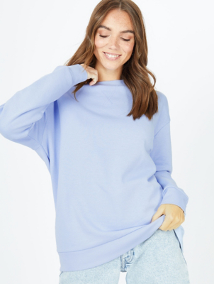 Blue Crew Neck Longline Sweatshirt
