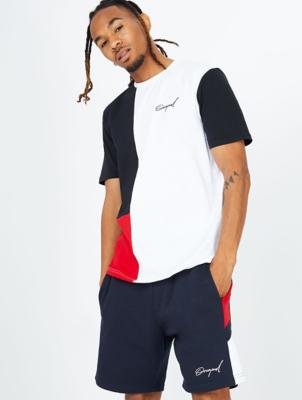 White Colour Block Jersey T-Shirt
