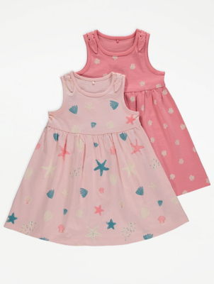 Pink Shell Print Jersey Dresses 2 Pack