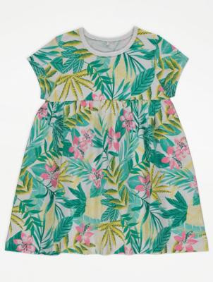 Tropical Print Short Sleeve Dress