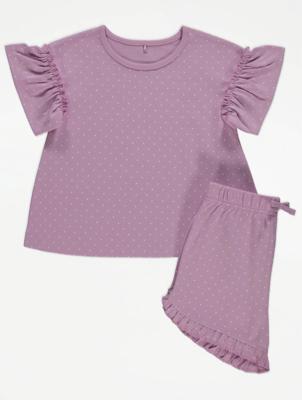Lilac Polka Dot Print Top and Shorts Outfit