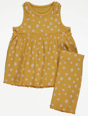 Yellow Polka Dot Print Ribbed Vest and Shorts Outfit