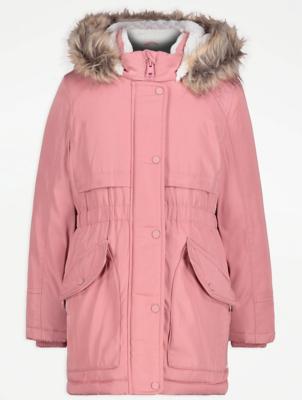 Pink Faux Fur Trim Parka