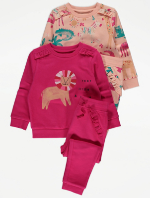 Safari Animal Sweatshirt and Joggers Outfit 2 Pack