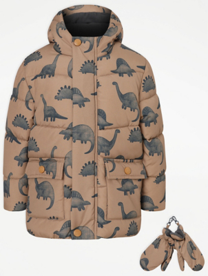 Tan Dinosaur Print Padded Coat and Mittens