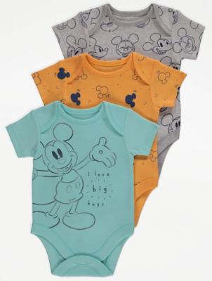 Disney Mickey Mouse Aqua Bodysuits 3 Pack