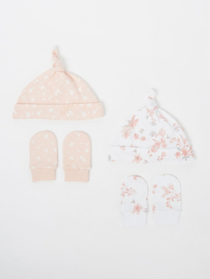 Pink Floral Print Hat and Scratch Mitts 2 Pack