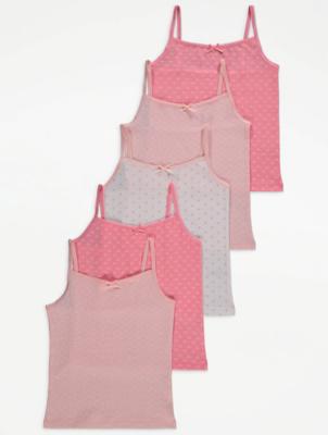 Polka Dot Cami Vest Tops 5 Pack
