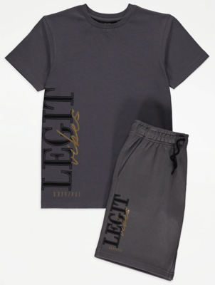 Charcoal Legit Vibes Slogan T-Shirt and Shorts Outfit