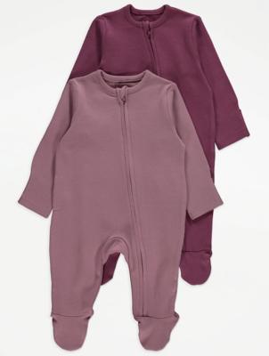 Purple Zip Through Sleepsuits 2 Pack