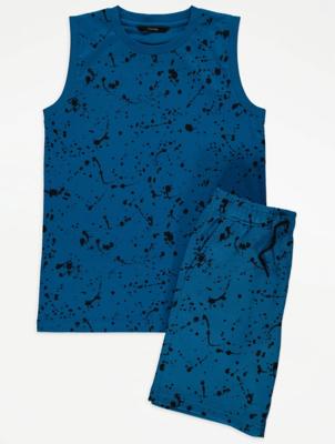 Cobalt Blue Splatter Print Vest and Shorts Outfit