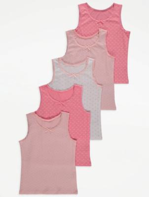 Pink Printed Bow Detail Vest Tops 5 Pack