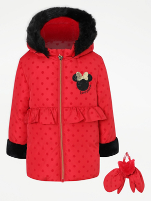 Disney Minnie Mouse Red Longline Coat and Mittens