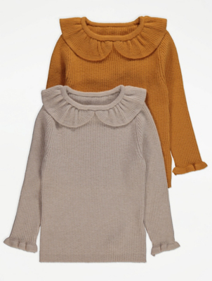 Ribbed Ruffle Collared Jumpers 2 Pack