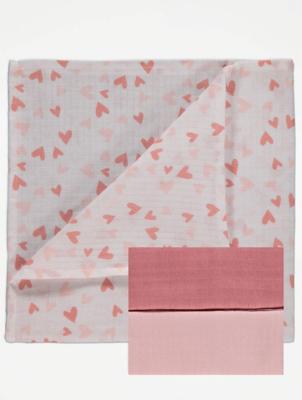 Pink Muslin Squares 3 Pack
