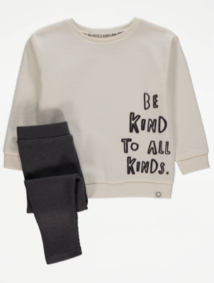 Unisex Be Kind Sweatshirt and Ribbed Leggings Outfit