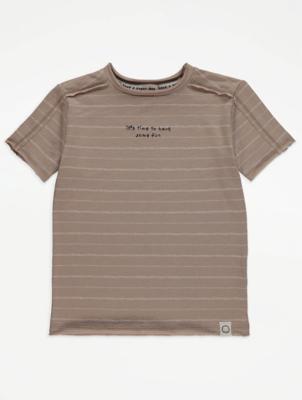 Unisex Light Brown Stripe Slogan T-Shirt