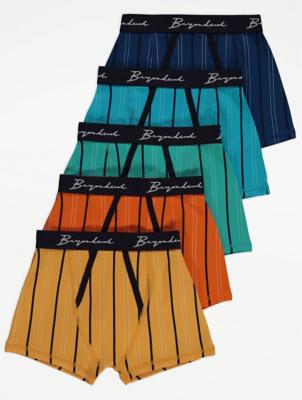 Slogan Detail Striped Trunks 5 Pack