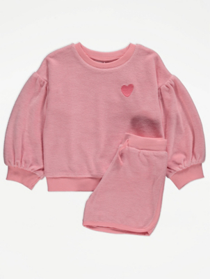 Pink Towelling Sweatshirt and Shorts Outfit